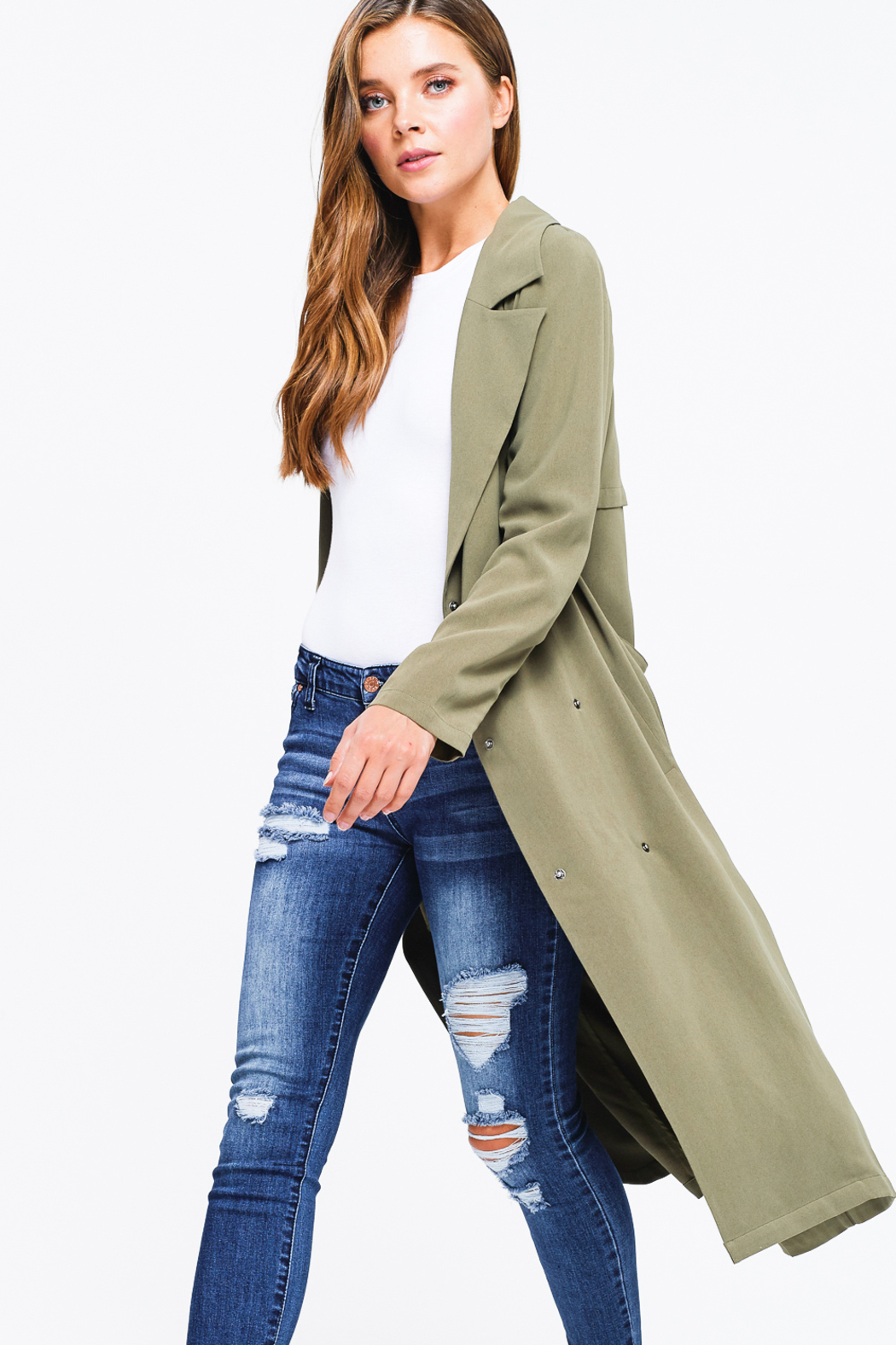 MONTREZ DUSTER TRENCH COAT - Back Cropped Image