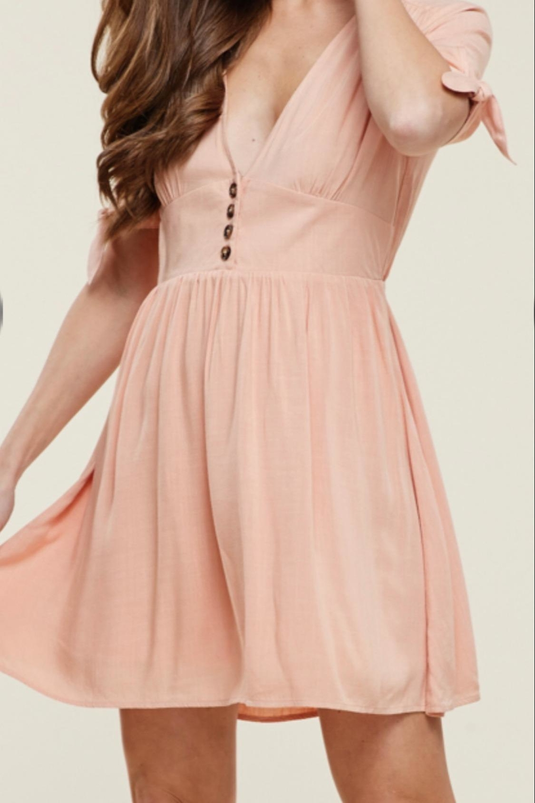 Staccato Dusty Peach Dress - Front Full Image