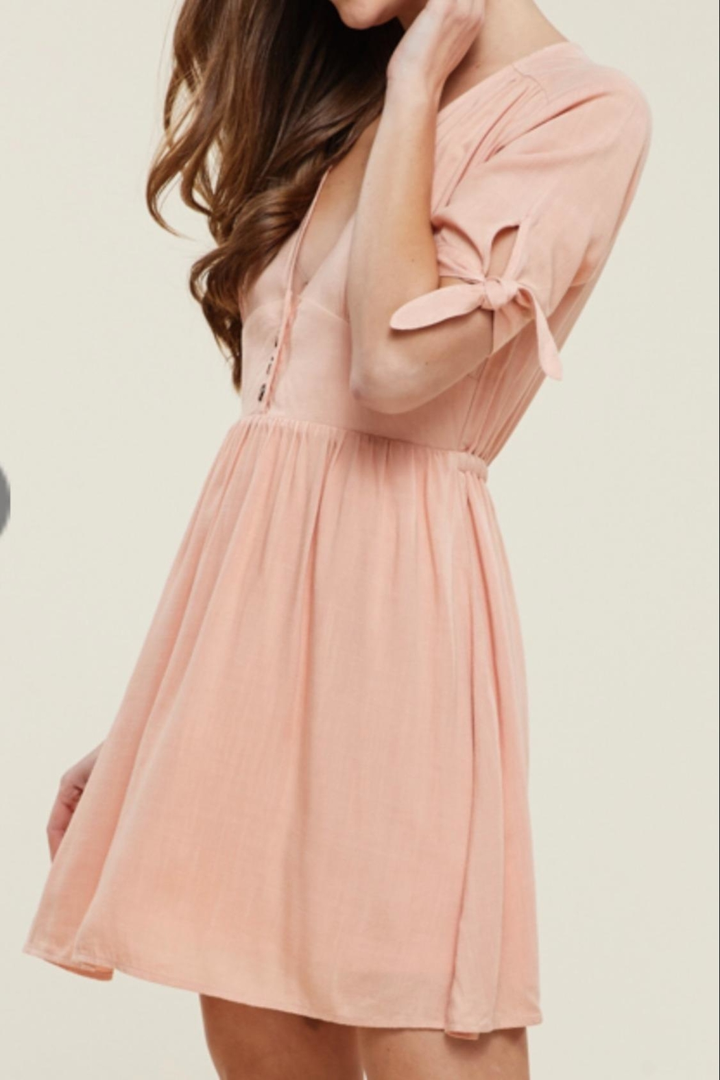 Staccato Dusty Peach Dress - Side Cropped Image