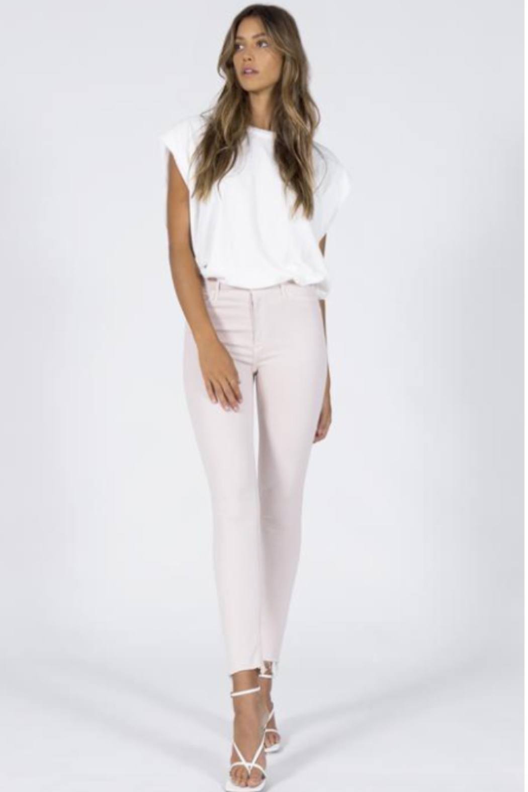 Black Orchid Denim Dusty Pink Carmen High Rise Skiny Ankle Fray - Main Image