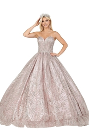DANCING QUEEN Dusty Pink Embellished Ball Gown - Product Mini Image