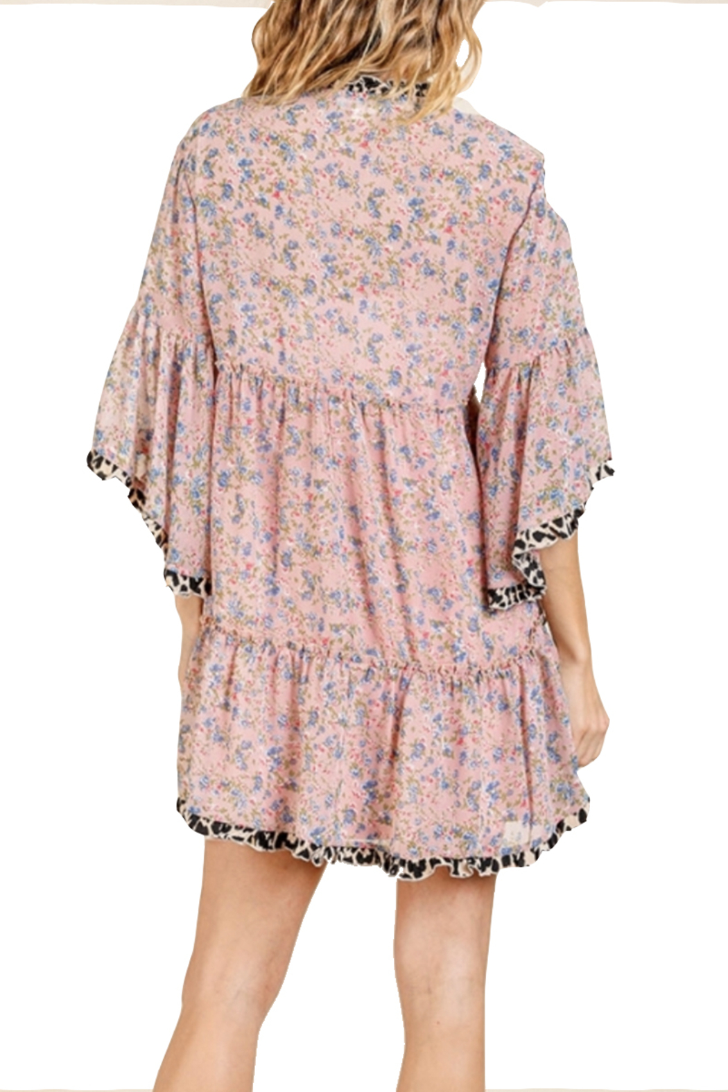 Umgee Dusty Pink Floral Dress - Side Cropped Image