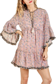 Umgee Dusty Pink Floral Dress - Front cropped