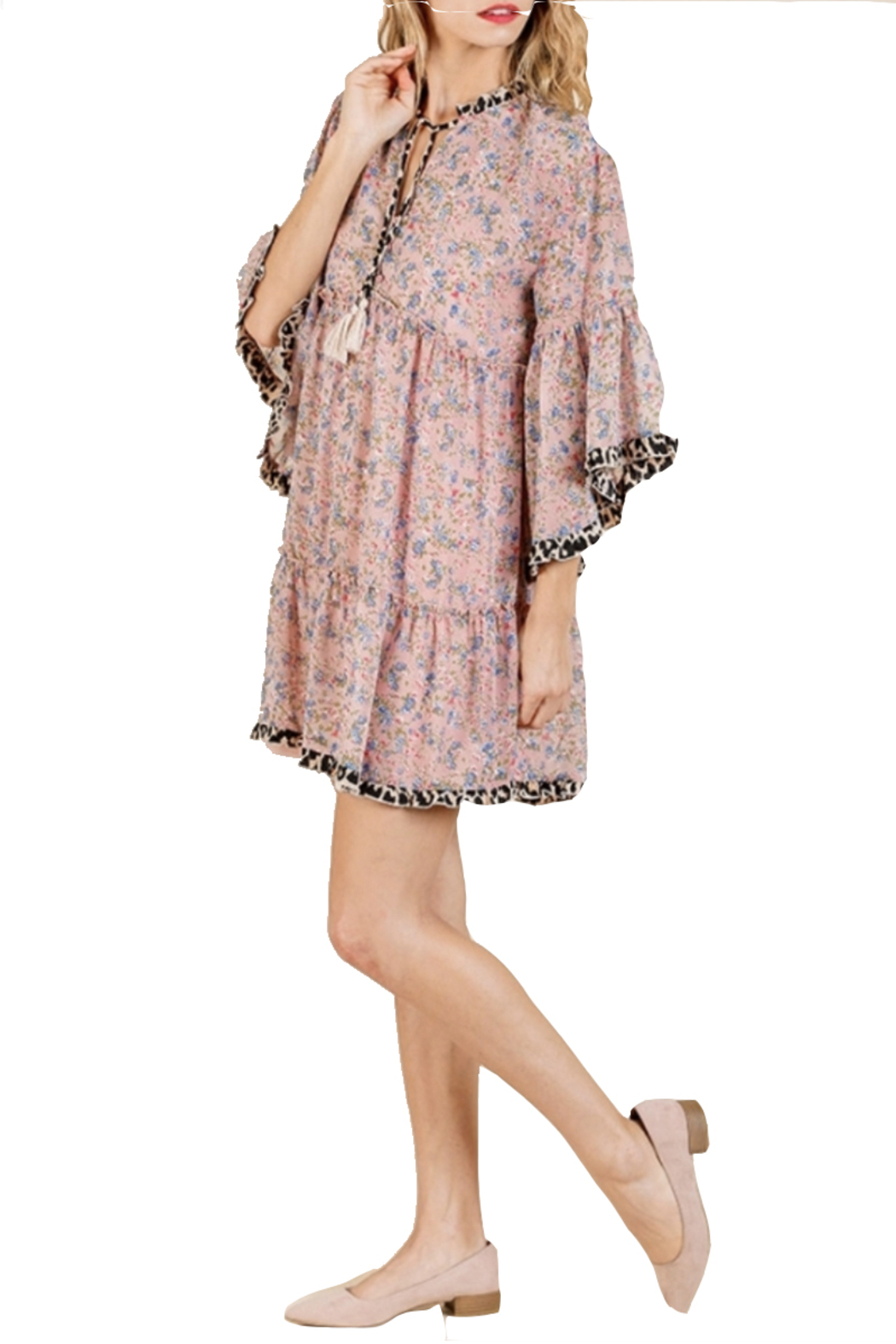 Umgee Dusty Pink Floral Dress - Front Full Image
