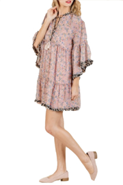 Umgee Dusty Pink Floral Dress - Front full body