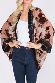 Patricia's Presents Dusty Pink Floral Kimono - Front cropped