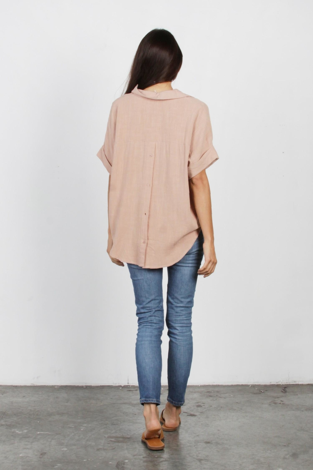 Mod Ref Dusty-Pink Oversized Top - Back Cropped Image
