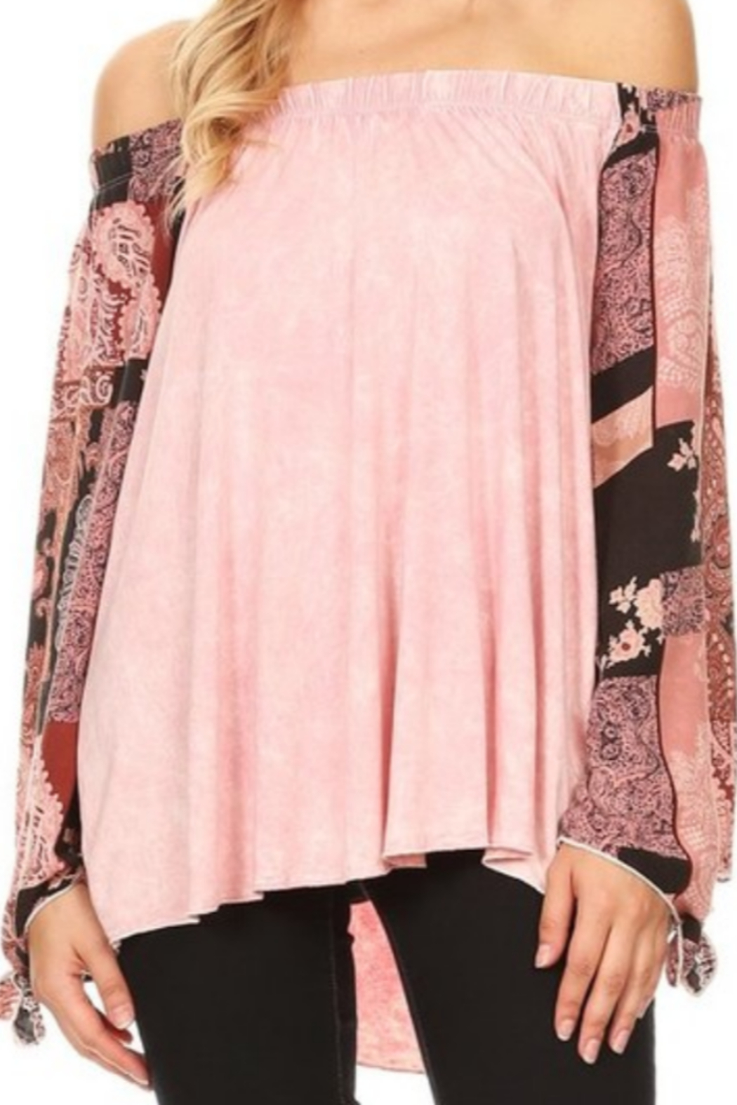 DiJore Dusty Pink Top with Flowing Vintage Print Sleeve - Main Image