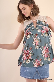 Umgee USA Dusty-Sage Floral Top - Product Mini Image