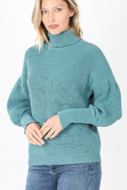 avenue zoe  Dusty Teal Puff Turtle Neck Sweater - Product Mini Image