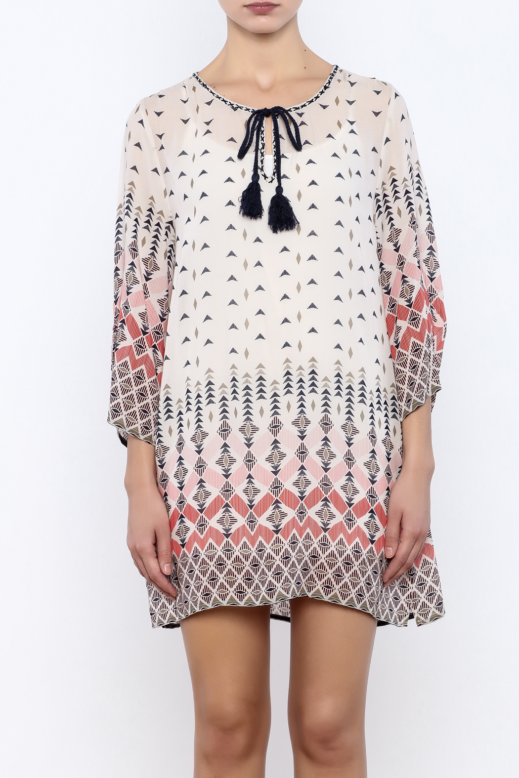Dylan by True Grit Geometric Print Dress - Side Cropped Image