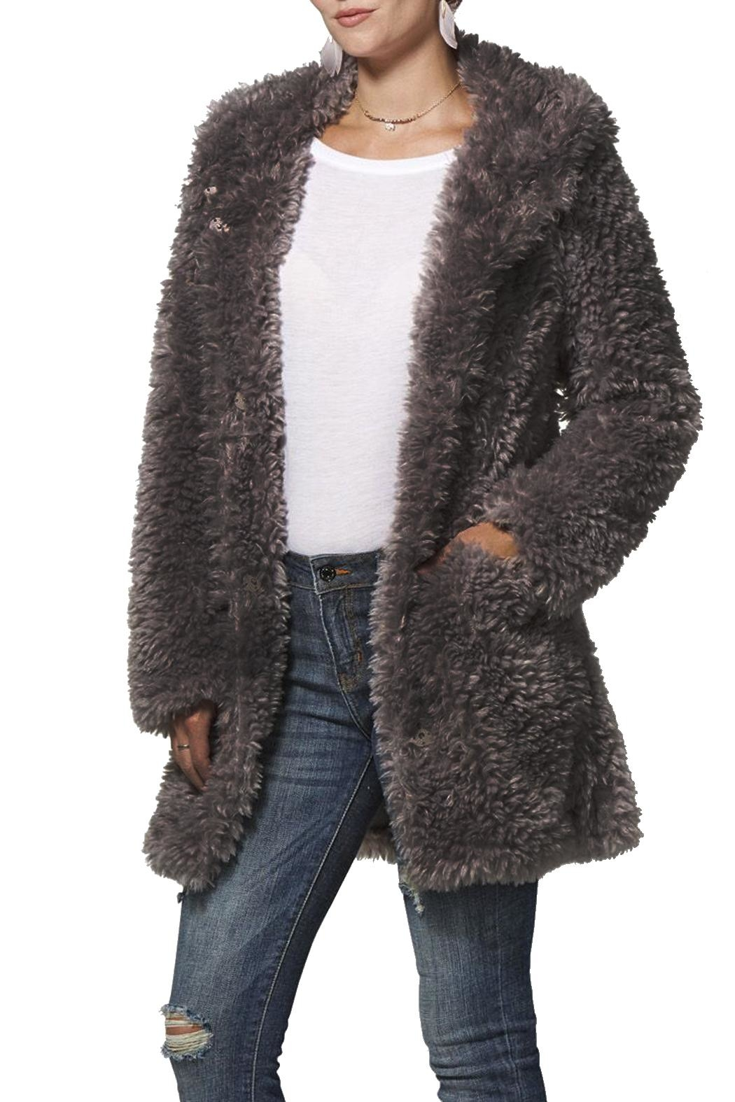 Dylan Charcoal Fuzzy Coat - Main Image