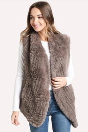 Dylan Draped Faux-Fur Vest Taupe - Front cropped