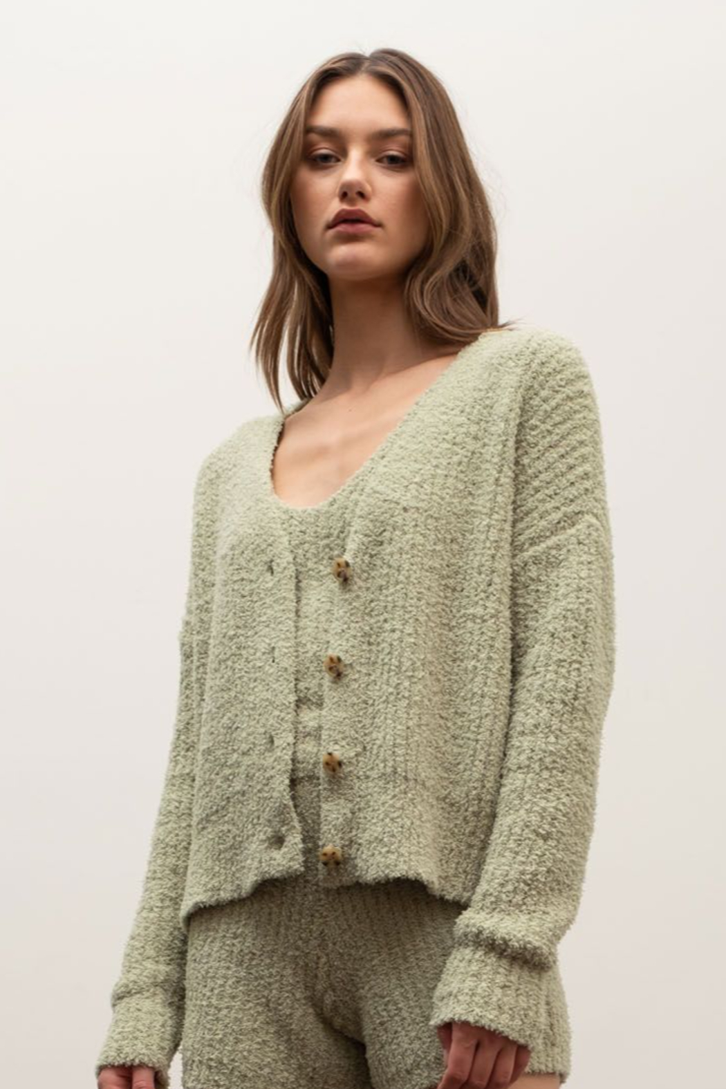 Moon River Dylan Furry Cardigan - Front Full Image