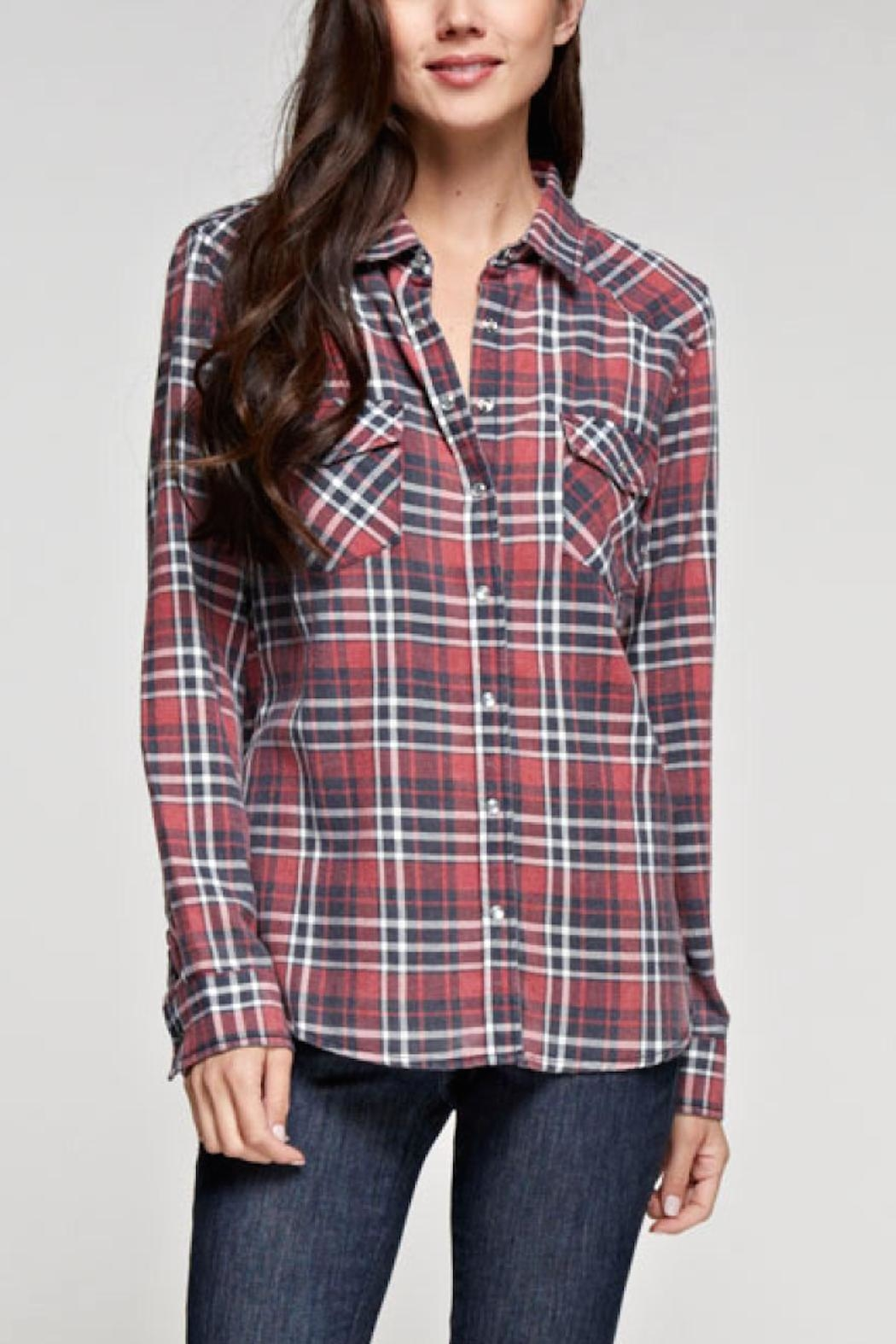 Love Stitch Dylan Plaid Top - Front Cropped Image