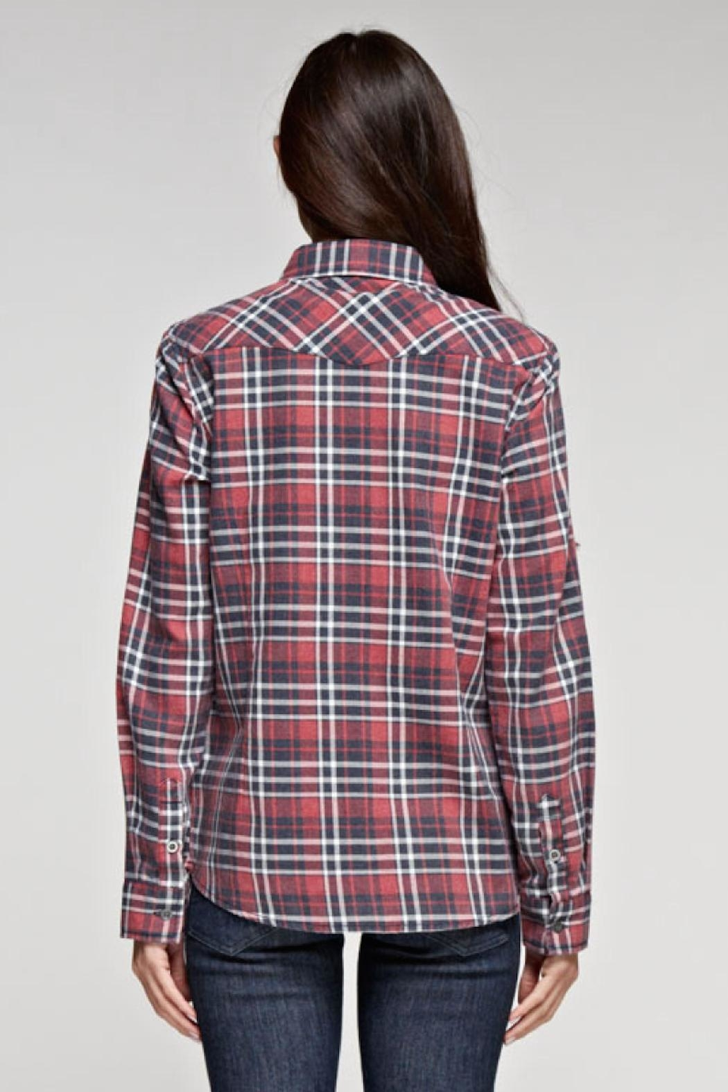 Love Stitch Dylan Plaid Top - Side Cropped Image