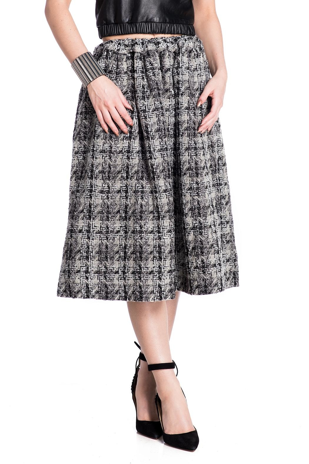 E. Tautz Pull Tie Wool Skirt - Side Cropped Image