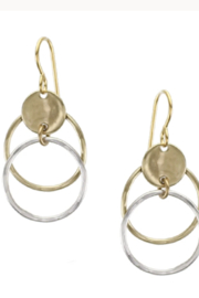 Marjorie Baer E0245DW - Concave Disc with Hammered Rings Wire Earring - Product Mini Image