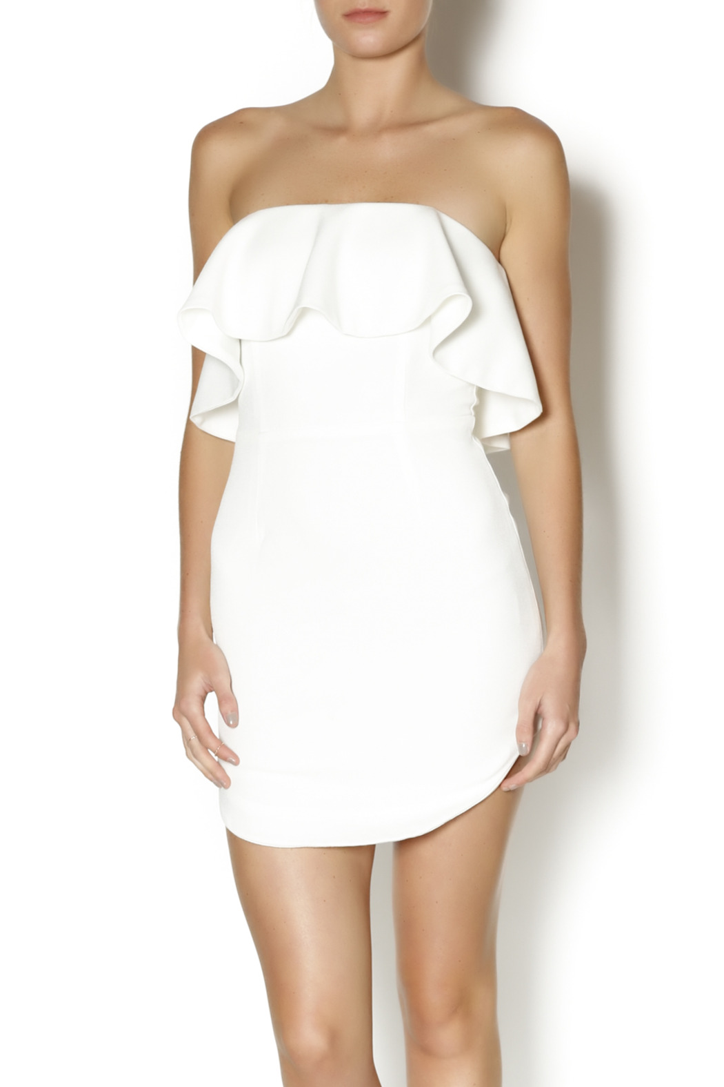 luxxel Tiered White Dress - Main Image
