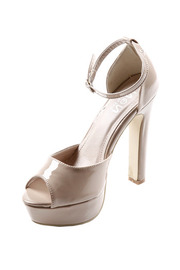 Shoes of Sole Patent-Leather Peep-Toe Platforms - Front cropped