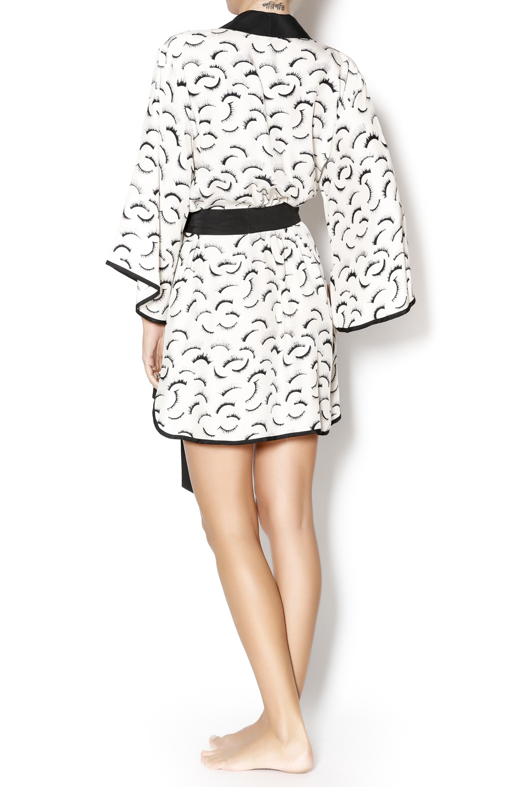 Dear Bowie Eyelash Print Robe - Side Cropped Image
