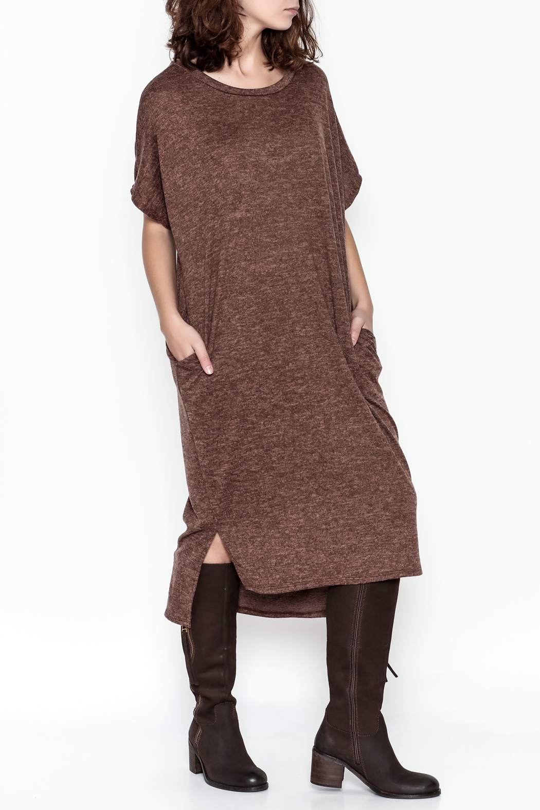 E2 Clothing Marled Sweater Dress - Front Cropped Image