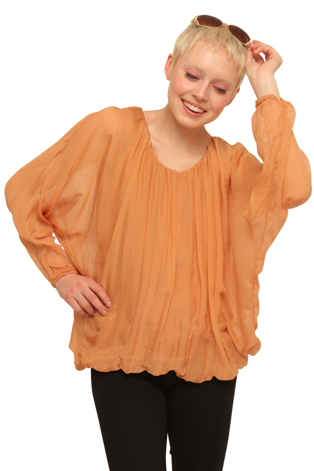 Baci Silk Long Sleeve Peasant Blouse - Front Cropped Image