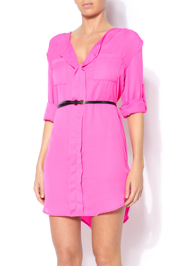 Shoptiques Product: Loose Belted Shirt Dress - main