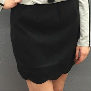 Shoptiques Product: Black Scalloped Skirt
