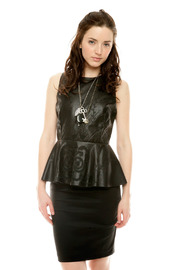 Shoptiques Product: Leather Peplum Dress
