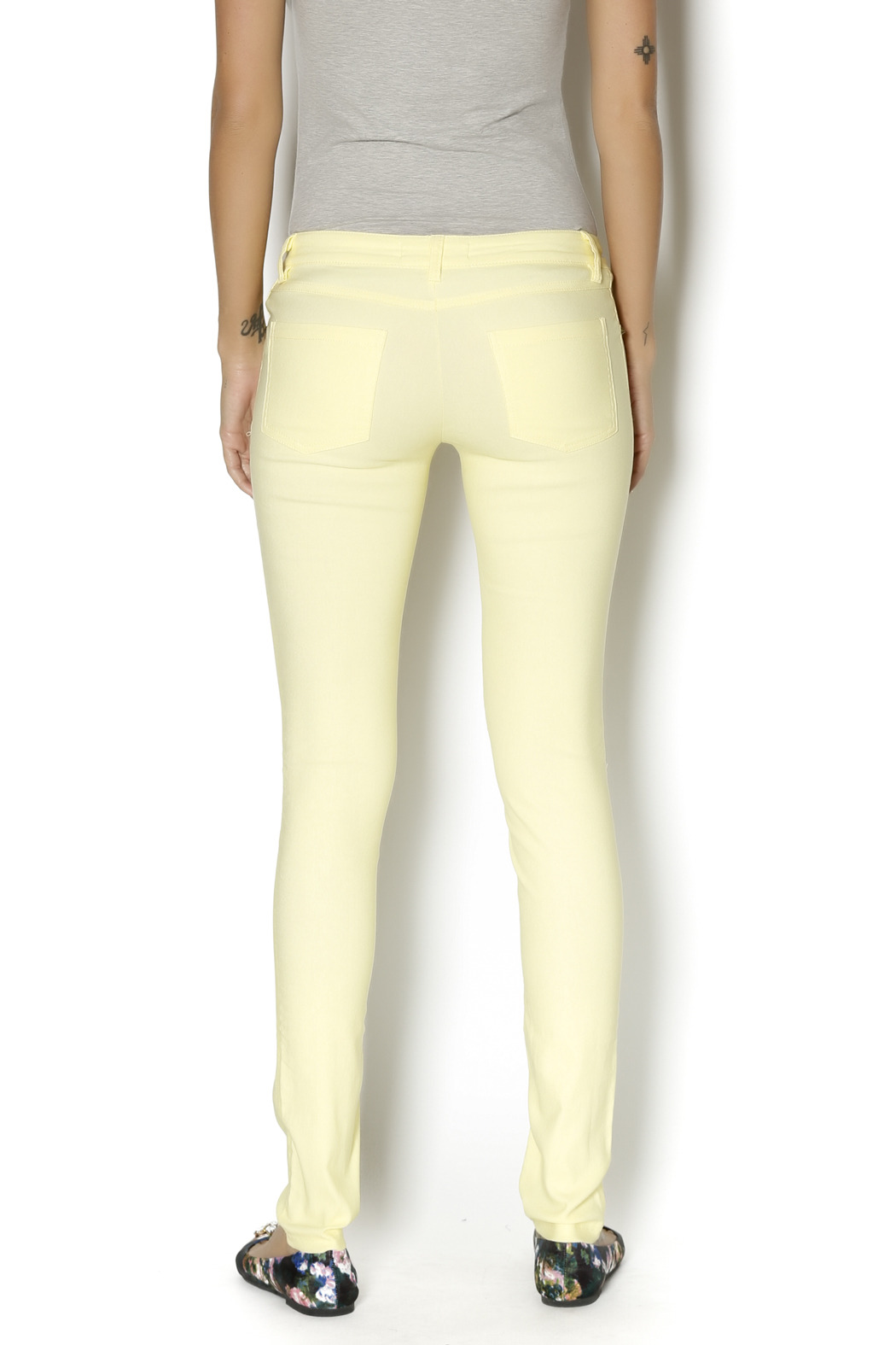 Karlie Neon Yellow Jeggings - Back Cropped Image