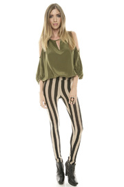 See You Monday Striped Leggings - Front full body