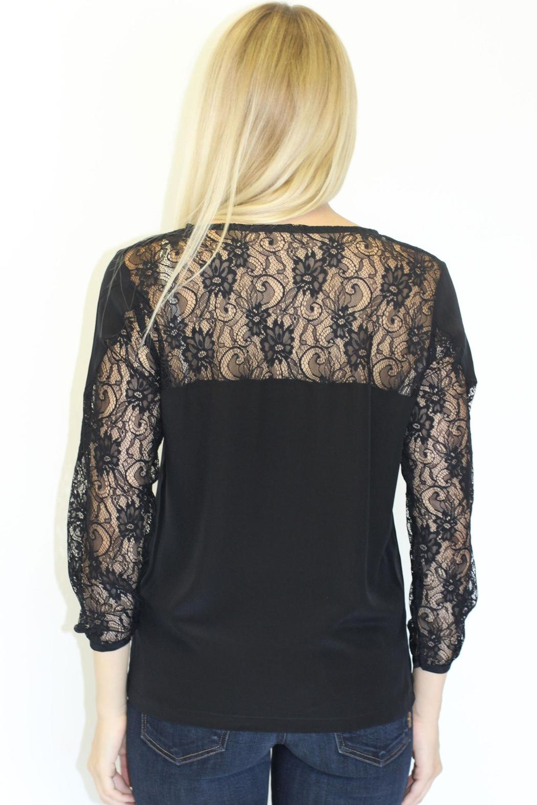 MYNE Lace Silk Top - Back Cropped Image