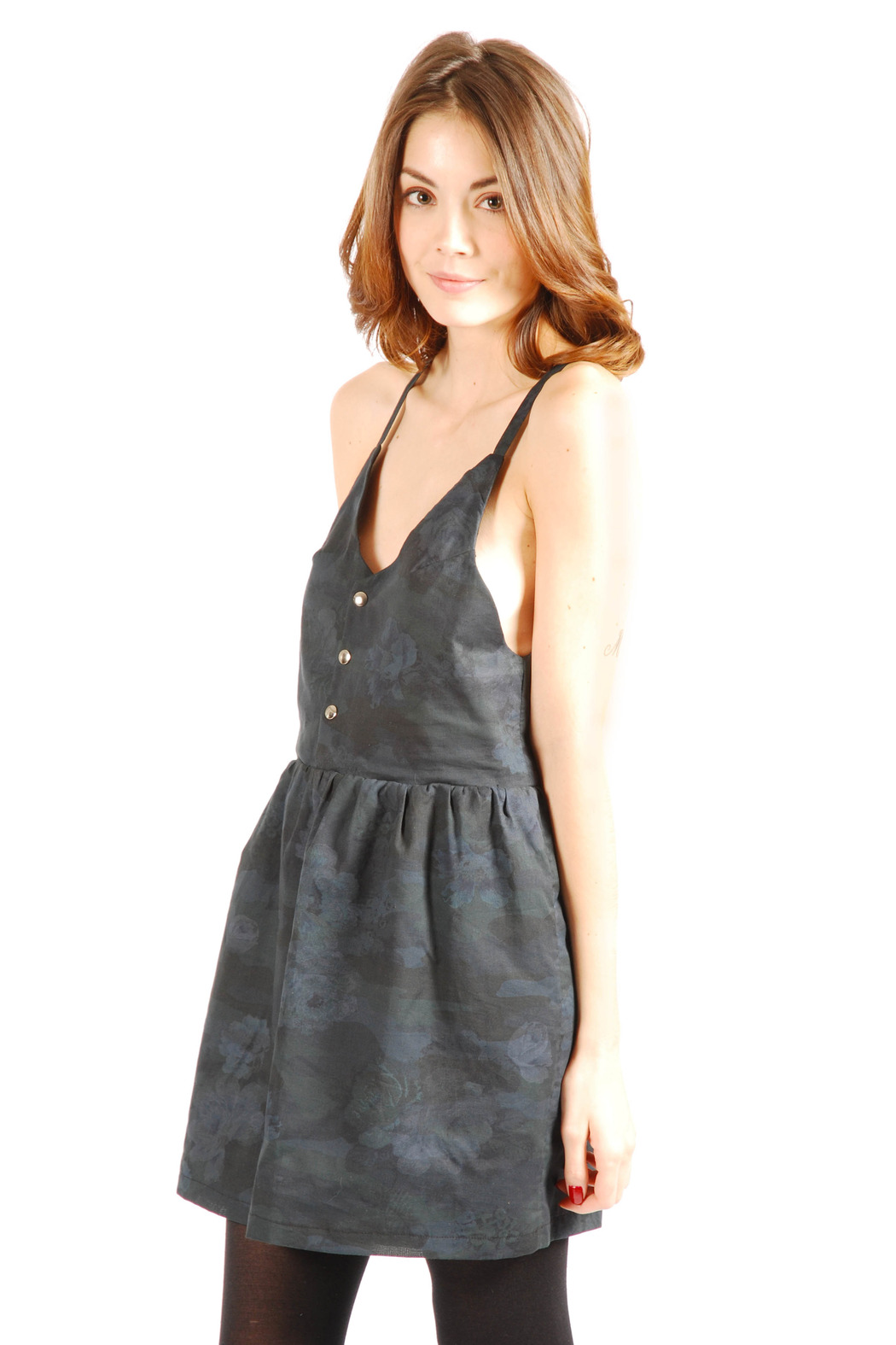 Mimi's Beer Spaghetti Strapped V-Neck Dress - Side Cropped Image