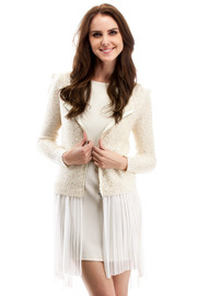 Lani Ivory Sequin Zip Cardigan - Front cropped
