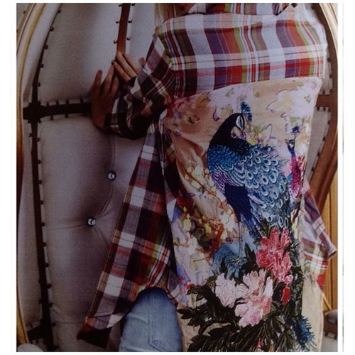 Unknown Factory Plaid Peacock Top - Main Image