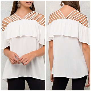 Shoptiques Product: Strappy Off The Shoulder Ruffle Top