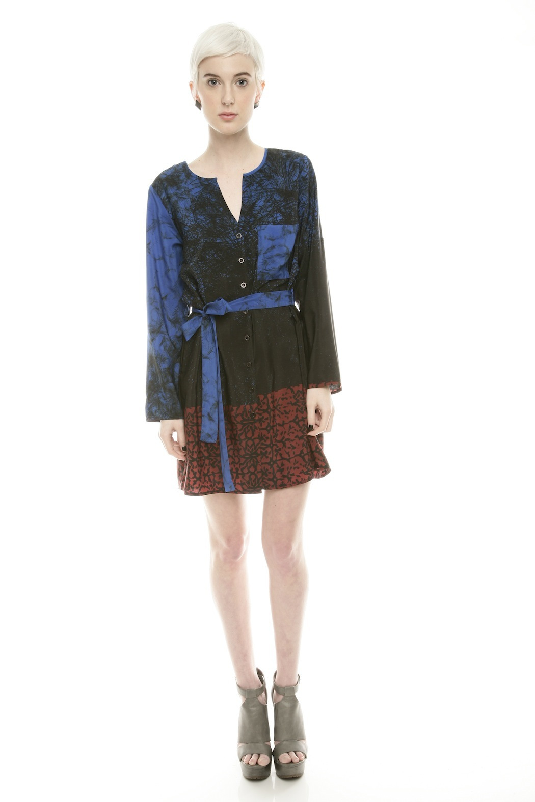 NU Button Belted Dress - Front Full Image