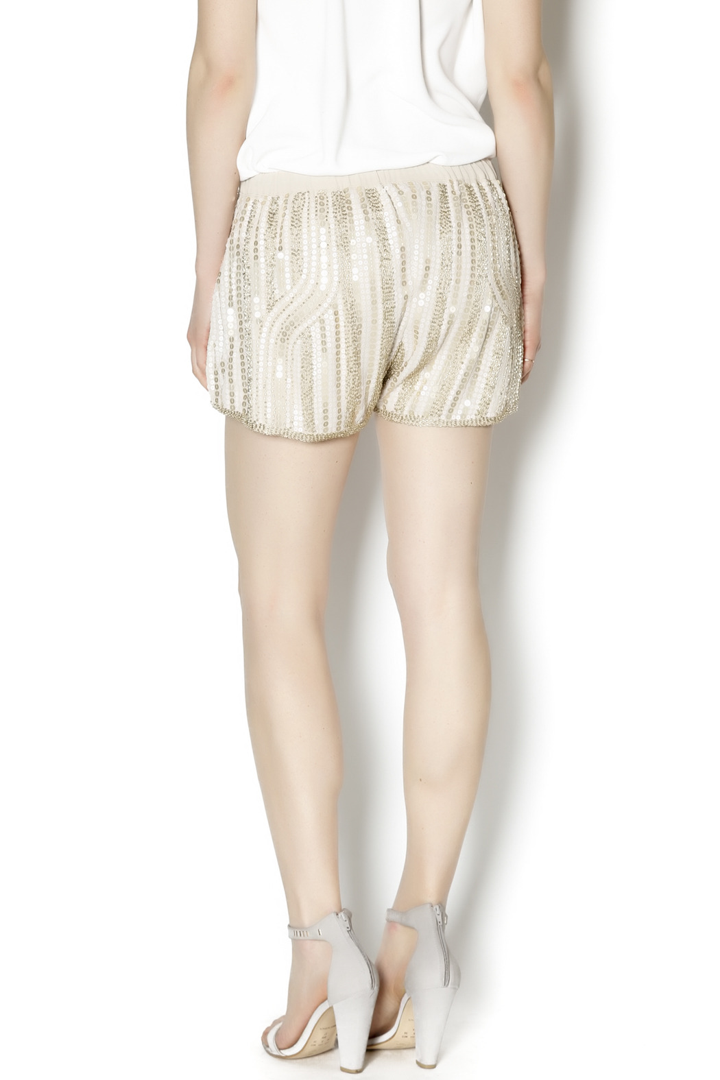 Wish Collection Sequin Track Shorts - Back Cropped Image