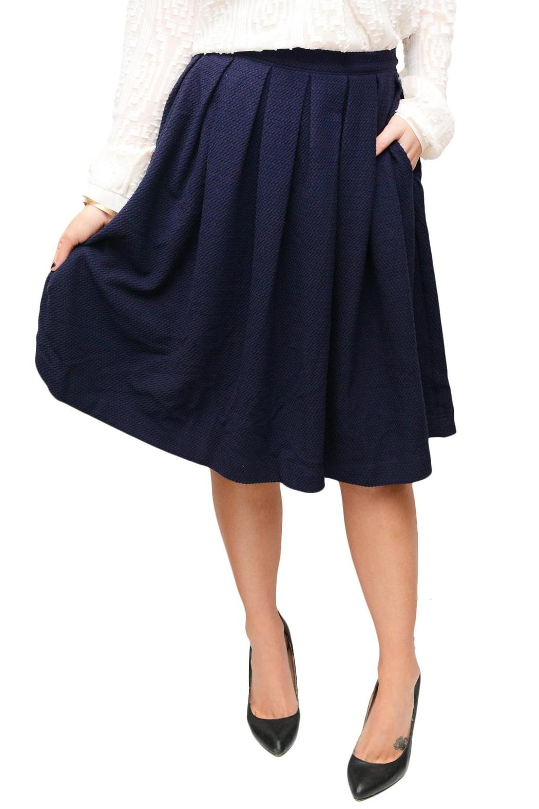 Comme Toi Navy Pleated Skirt from Seattle by SIMPLY CHIC — Shoptiques