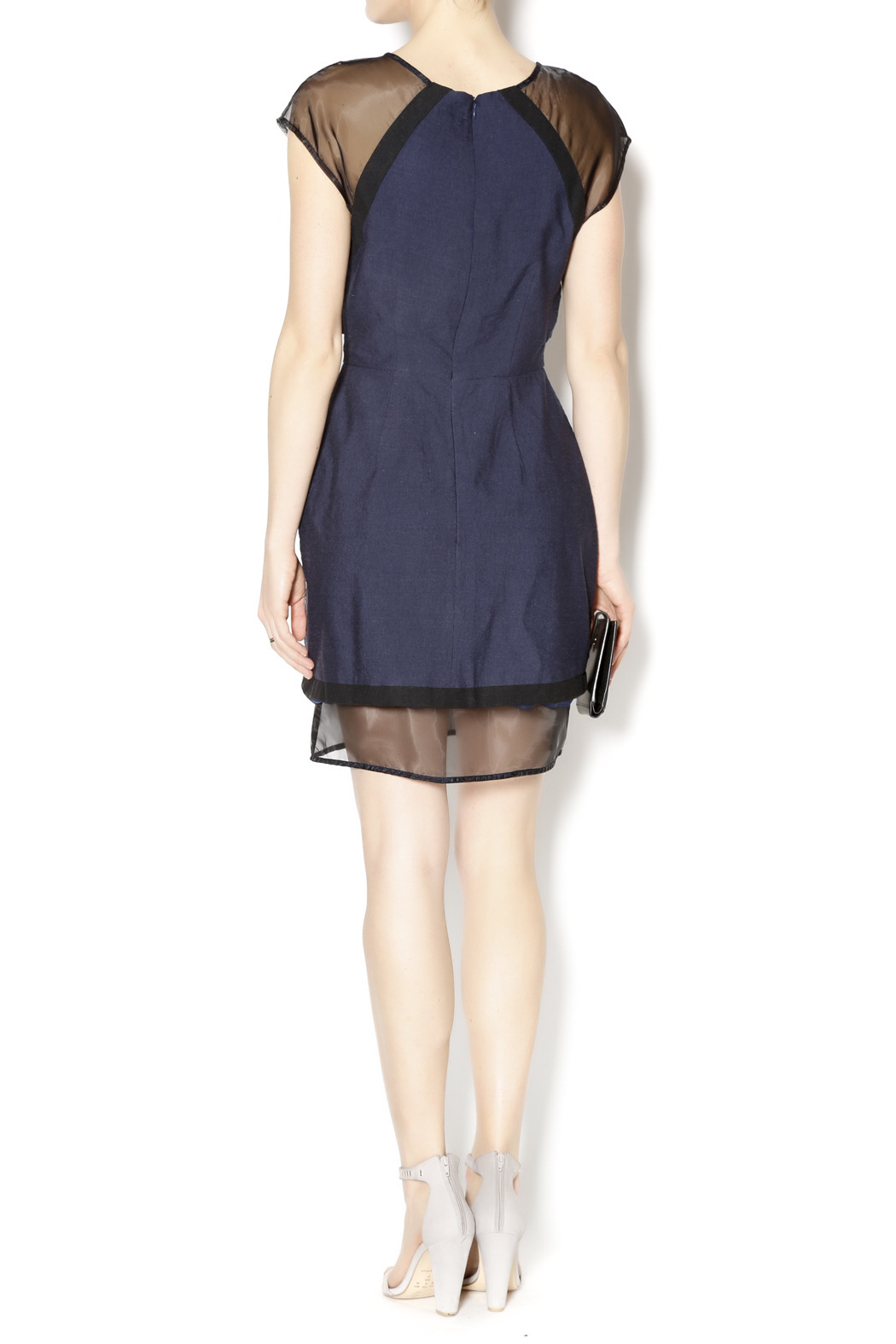 C/MEO COLLECTIVE Navy and Sheer Dress - Side Cropped Image