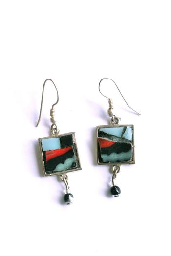 Shoptiques Product: Mosaic Glass Earrings - main