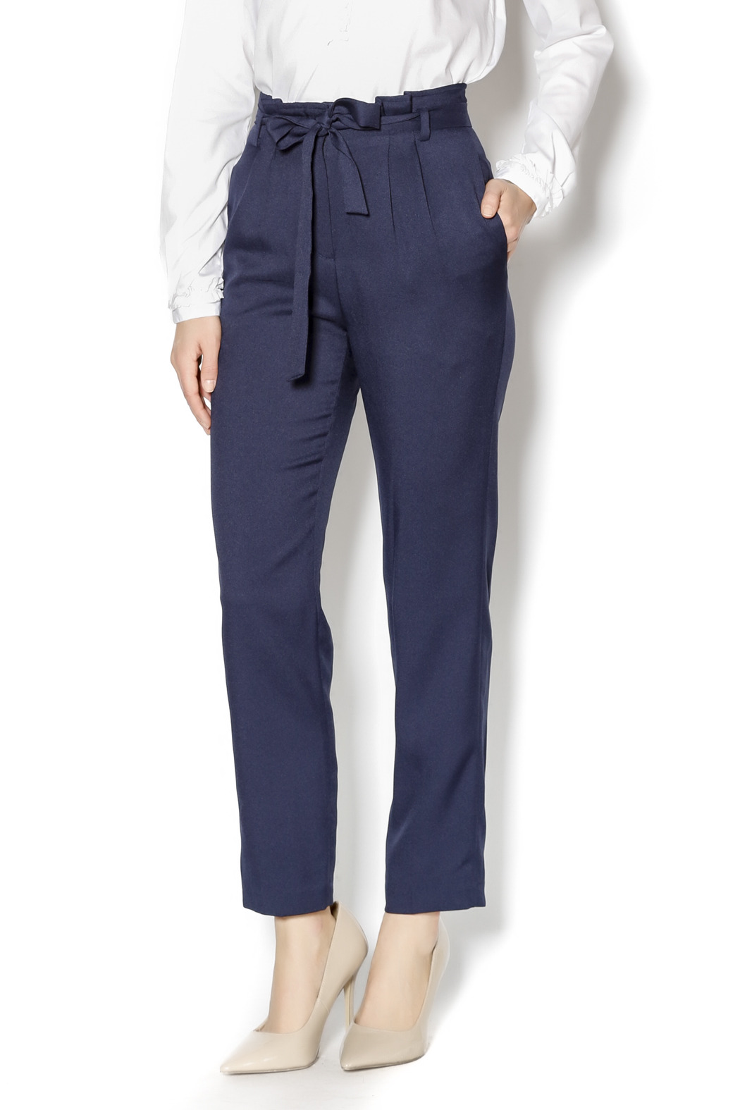 Pinkyotto Navy High Waisted Tie Pants - Main Image
