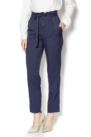 Pinkyotto Navy High Waisted Tie Pants - Front cropped