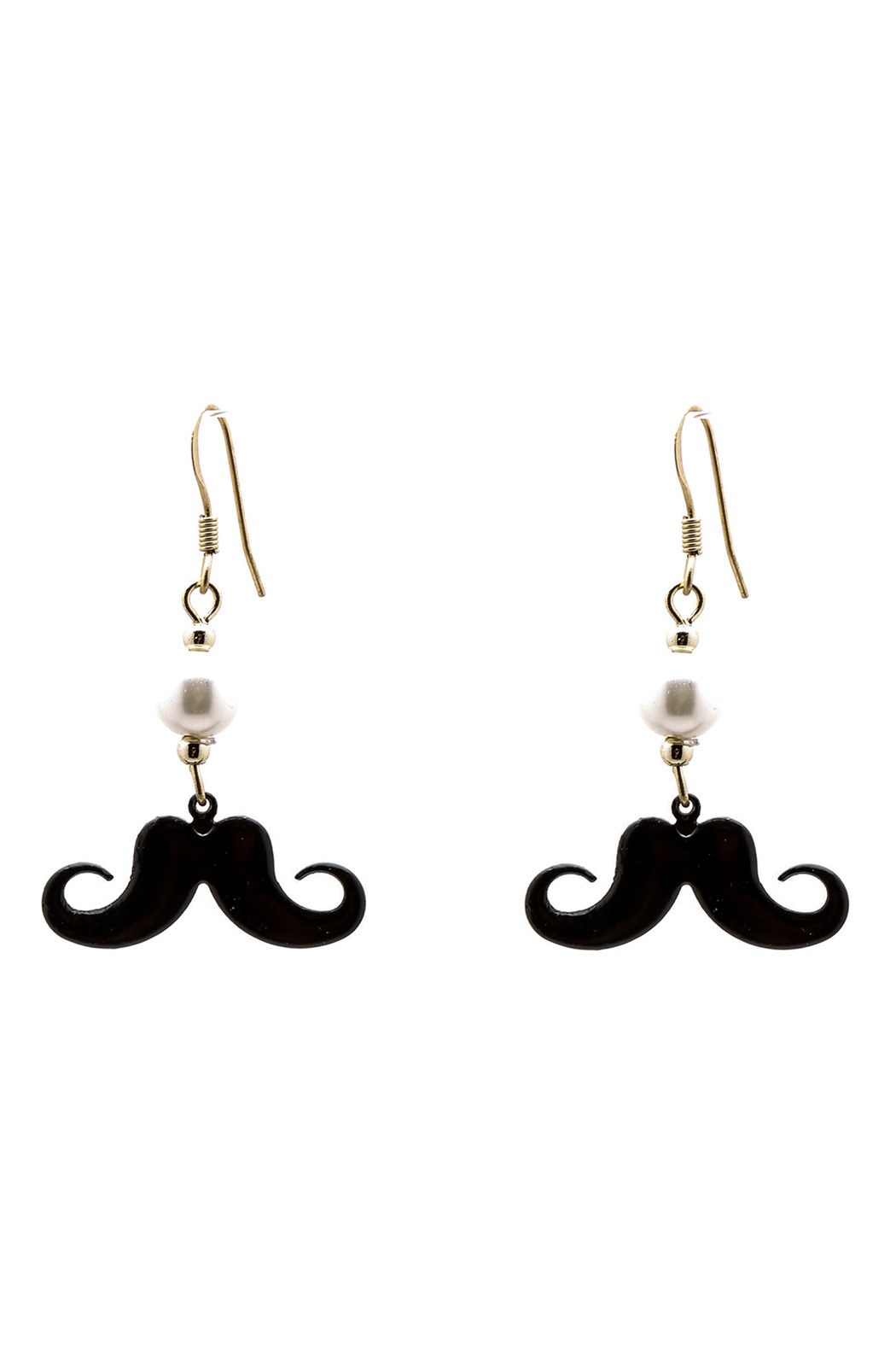 Andrew Tessier Designs Pearl Mustache Earrings Front Cropped Image