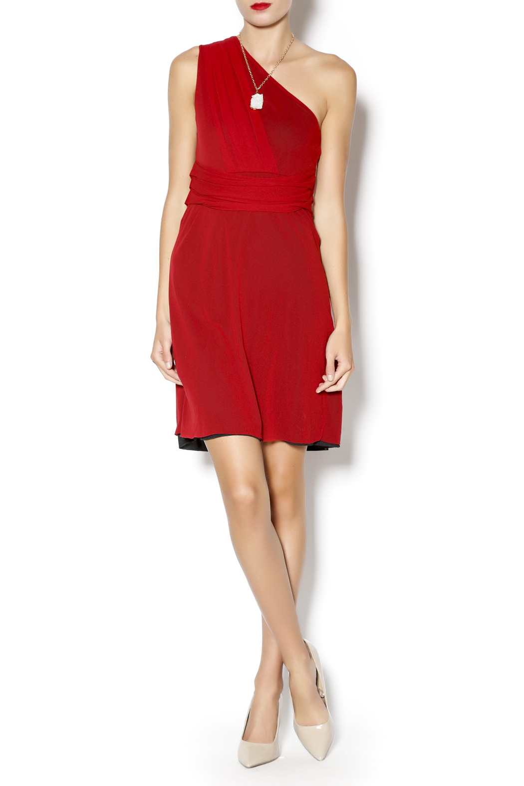 Sweet Pea Pleated One Shoulder Dress - Front Full Image