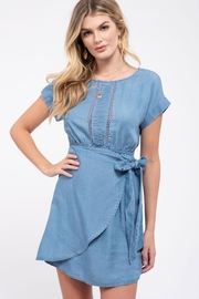 E & M Chambray Wrap Dress - Product Mini Image