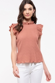 E & M Double Ruffle Sleeve Blouse - Product Mini Image