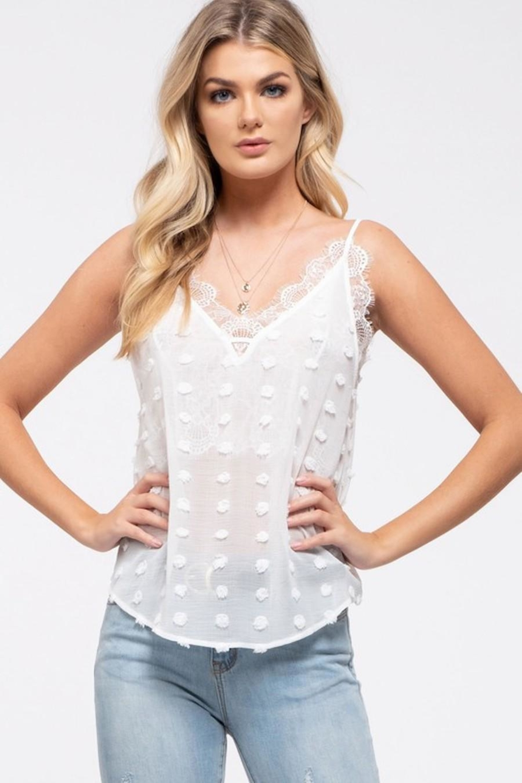E & M Swiss Dot Lace Cami In White - Front Full Image