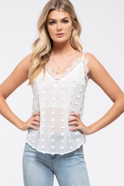 E & M Swiss Dot Lace Cami In White - Front full body